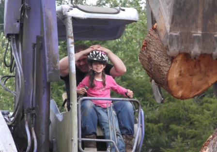 Rosebud and Dad on excavator 2