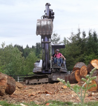 Rosebud and Dad on excavator. 3jpg